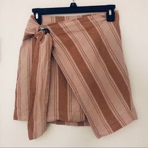 Free People stripes tie wrap mini skirt